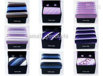 box mix order - ,100% Silk Men's tie Necktie, ties With Handkerchief,Cuff Button and