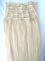 "5sets/lot 16"" Clip in Human Hair Extensions 7Pcs 100g color 6# 35# 613# 4-613# 1B 2#"