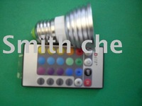 Free Shipping!!!!!! Dimmable e27 3W RGB LED Bulb Light Lamp 16 Color Change w/Remote Control ac 85v-240V