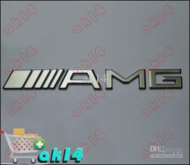 Mercedes Benz /// AMG Chrome Car Badge Emblem Badges Emblems Logo Sticker Good Quality 100pcs / Lot(China (Mainland))