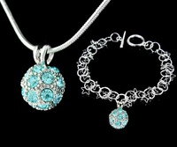 2012 Fashion crystal Jewellery Set Ball-shaped Necklace + Bracelet silver-filled silver Jewelry Set T168 5pc/lot free shipping