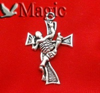 FREE SHIPPING 20 Silver Tone Halloween Skeleton&Cross Charms Pendant Beads Jewelry Making Findings 32x20mm