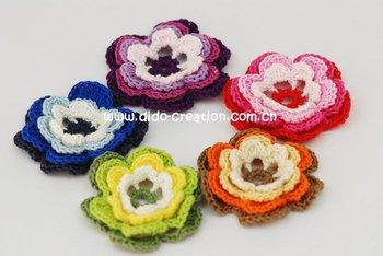 Free shipping  Mixed 12PCS Handmade Crochet Fashion Accessories Flowers DIY Applique 2.4'