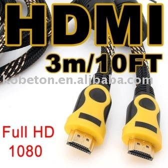 Best Free Drop Shipping 3M 10FT HDMI MM Male Cable Gold 1080P Cord HDTV HD TV(China (Mainland))