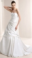Special Satin Layer Strapless White Custom Wedding Dress