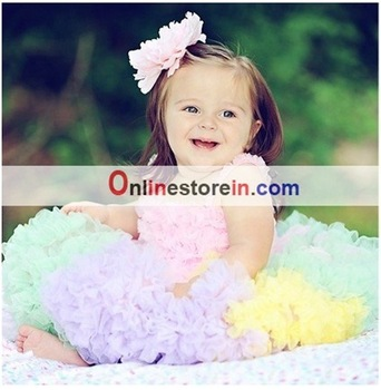 Free shiping Wholesale baby dresses, babies petti-dress, baby pettiskirts,Multicolour tutu skirts and ruffly light pink top