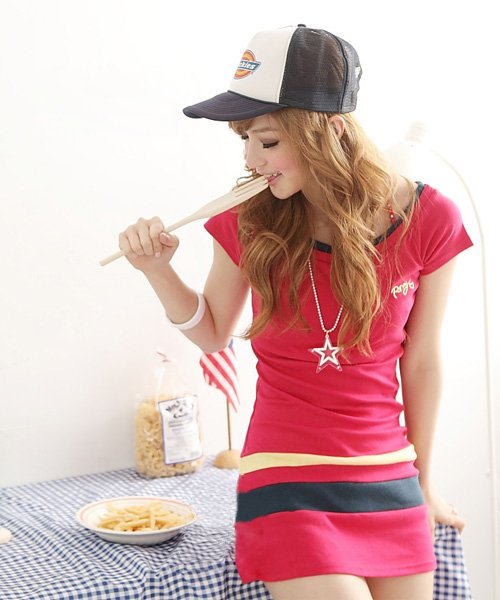 Women Spring 2011 Summer Hot new Korean sweet Ruili Long sleeved cotton T shirt dress stitching(China (Mainland))