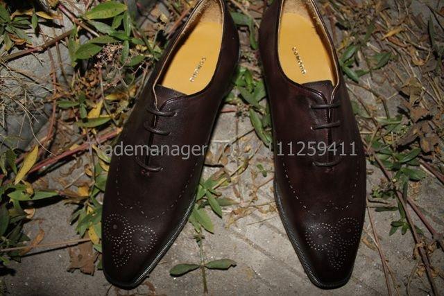 Free shipping custom handmade pure genuine calf leather men's dress oxford color dark coffee shoe No.OX79(China (Mainland))