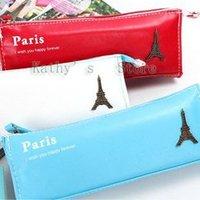 Romantic Eiffel Tower, high quality soft PU leather pencil case,pen bag,pen case(10 pieces/lot).