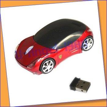 MINI WIRELESS USB RF CORDLESS CAR MICE MOUSE LAPTOP PC Mini Car 2.4G USB Wireless Optical Mouse 10M +free shipping