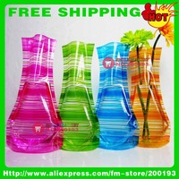 FREE SHIPPING 100PCS/LOT ASSORTED COLOR&amp;amp;STYLE HOT SELLING B1 UNBREAKABLE ECO-FRIENDLY FOLDABLE VASE PARTY TABLE DECORATION