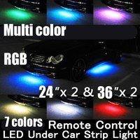 "5PCS/LOT Brand New WIRELESS REMOTE Multi-Color Under Car LED Glow Neon Light Kit (2*36""+2*24"") RGB"