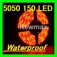 Free shipping LED Light flexible Strips:5050 LED 30 LED/M Waterproof DC12v 150 LEDs Light Strip Red car auto 5m/roll,1 roll/lot