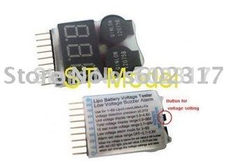 wholesale 100pcs New 2S-8S Battery Low Voltage Buzzer Alarm dual speaker & Voltage Tester meter 2S 3S 4S 5S 6S 7S 8S 2014