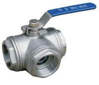 T Type,SS304, 1000WOG,3 Way ball valve, Stainless Steel Tee Ball Valve With Female thread