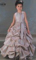 Free Shipping New Coming Cheaper FL079 High-quality Taffeta Lovely Flower Girl Dress