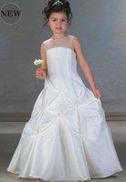 Free Shipping New Coming Cheaper FL080 High-quality Taffeta Lovely Flower Girl Dress
