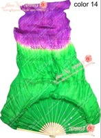10pcs/lot free shipping Green - Purple color silk dance fan veil/belly dance fan veil/silk fan veil/belly dance accessory