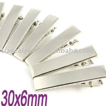 Silver flat metal hair alligator clip baby 30x8mm Jewelry Findings Accessories Fittings Components