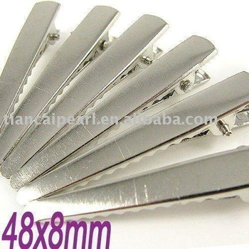 48x8mm Silver flat metal hair alligator clip baby Jewelry Findings Accessories Fittings Components