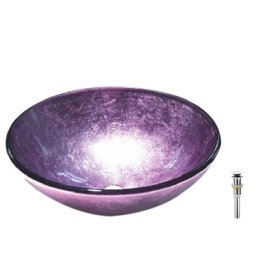 Victory Round Purple Tempered glass Vessel Sink, Water Drain(China (Mainland))