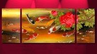 Feng Shui Painting Japanese Koi Fish Painting Guaranteed 100% Free shipping