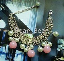 12 pcs/lot free shipping 2011 Summer Design Fashion Gold Tone Mulit Chains Pink Crystal Beads Bracelets B11026(China (Mainland))