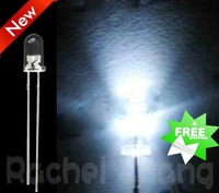 wholesale 1000PCS 3MM Ultra Bright Warm White long Pins 4000-6000mcd 3.1-3.3V,Top quality 3mm white LED diodes/LED lamp