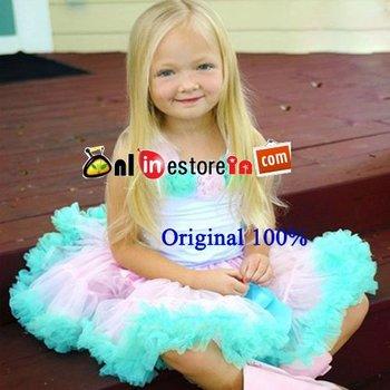 FREE SHIPPING light pink and aqua blue summer toddler girl Pettiskirts Dresses set,tutu skirts and cotton rosette top