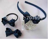 free shipping baby kids girls cute hair accessories set headband+hair clip+elastic band  hair bows set custmos-made  50pcs/lot