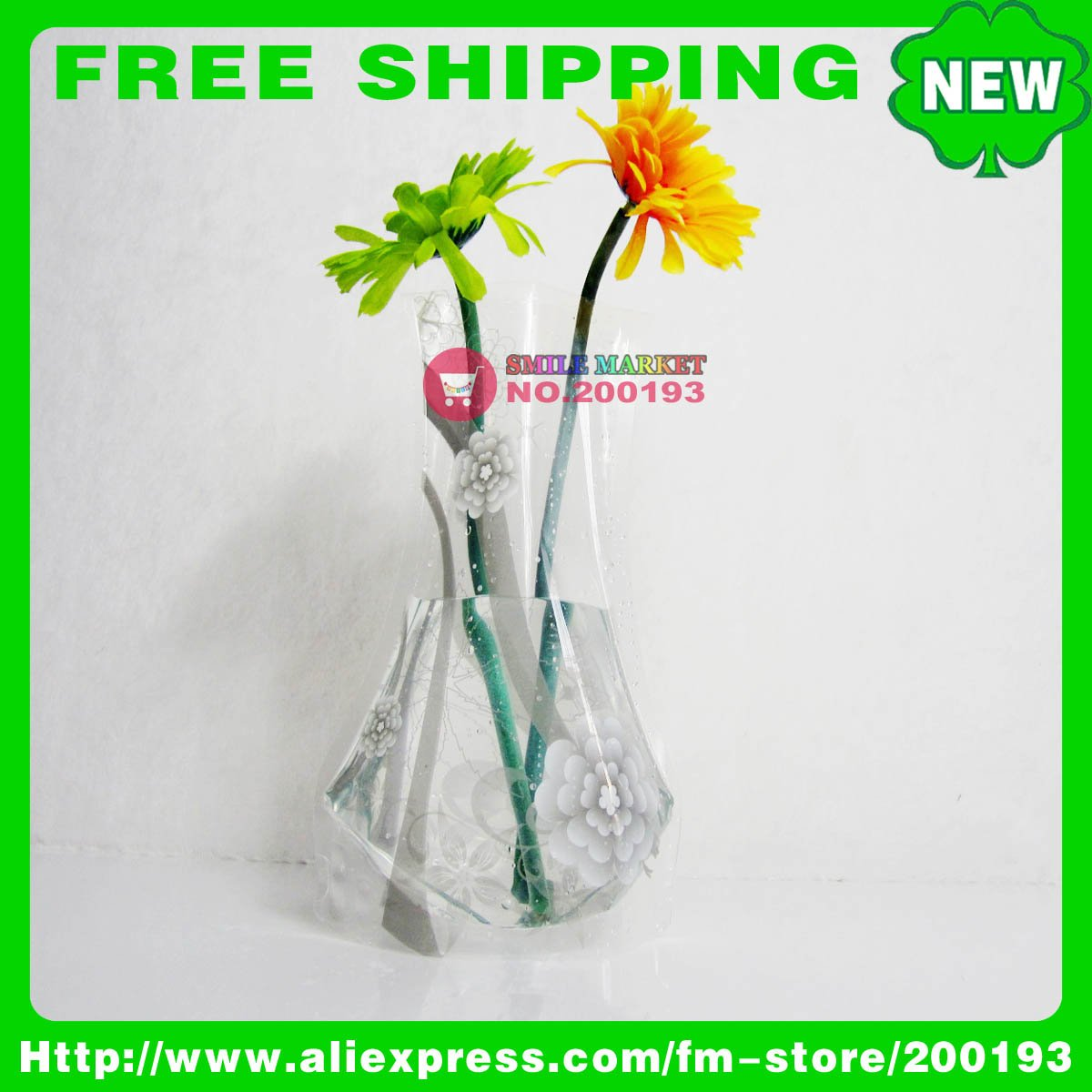 FREE SHIPPING 100PCS/LOT ASSORTED COLOR&STYLE USED HOME PROMOTIONAL GIFTS B18-4 PLASTIC FOLDABLE VASE 2011 NEW IDEA PRODUCT(China (Mainland))