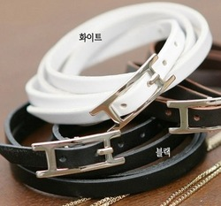 UPS Free shipping,2011 New Black/White Leather Bracelet(China (Mainland))