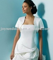 Free shipping High quailty Fashion satin taffeta short white or ivory bridal wedding jacket  WJ0005