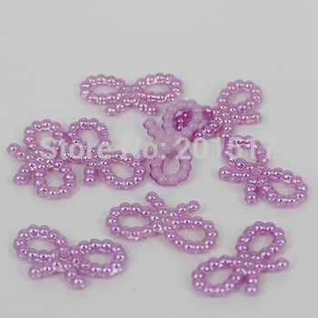 1000pcs/lot Free shipping light purple 18x10mm imitation bowknot shape flatback pearls nail cellphone laptop art