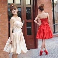 Freeshipping Elegant Scalloped Embroidery Sashes Taffeta Short Bridesmaid Dress