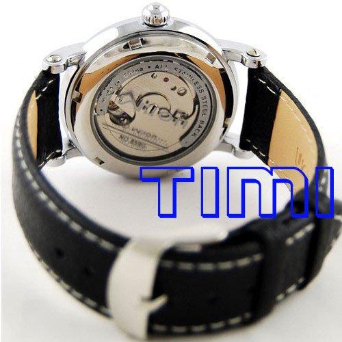 wholesale Luxury black case Genuine Leather Tourbillon watch Valued Gift freeship(China (Mainland))