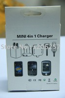 30pcs/lot,mini 4 in1 phone Charger, Car charger+travel charger+Sync to Micro USB Cable +5 pin USB cable FOR4 3GS htc blackberry