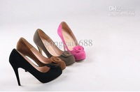 The latest round lady shoes high woman Brown shoes with waterproof suede