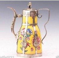 Rare antique tibet silver Old Porcelain Armored Dragon Monkey Tea Pot Free shipping