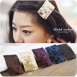 Free shipping wholesales or resales fashion flash paillette  hair clip hair clip