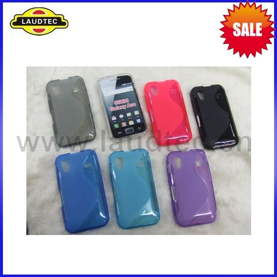 350pcs/lot 7 Colors TPU Wave Gel Case Back Cover for Samsung Galaxy Ace S5830 Hot Sale + DHL Free Shipping(China (Mainland))