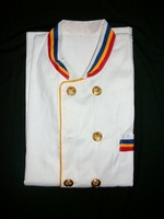 1PCS begun to customize, easy care, the most popular, selling long-sleeved gold buttons and three color collar Chef uniform