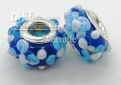 Murano Glass Bead Charm flower 925 silver DIY Hot sale PL009 - European colour(China (Mainland))
