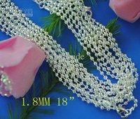 100 pcs fashion beads chain necklace hot sale 1.8MM 18 inch 925 silver bulk