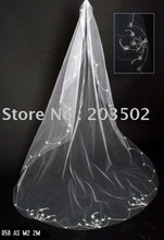 Free shipping 2011 Wholesale 10pcs/lot embroidered wedding veils party veils bridal veil lace edge one-layer 2m long(China (Mainland))