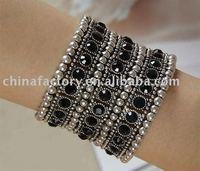 fashion 3rows stretch black zinc alloy Tibetan jewelry bracelet