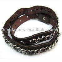 2011 fashion new jewerly new leather chain wrap bracelet