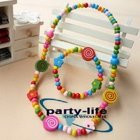 Kawaii Colourful Wooden Necklace & Bracelet Set For Kids Circle, 35sets/lot,Free shipping