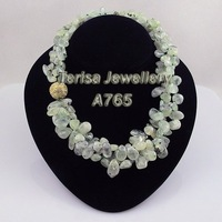 New Style A765#Fashion Necklace Green Garnet Group Necklace Triple String 18INCH Magnet Clasp