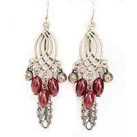 Nostalgic bohemian tassels leaf drop earrings